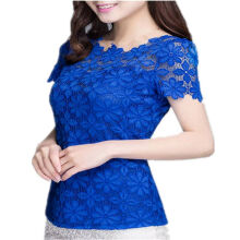 ZANZEA Ladies Short Sleeve Slim Fit Floral Lace Tops Sexy Blouse - yelloow