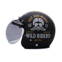 WTO Helmet Retro Hot Rod - Black Doff