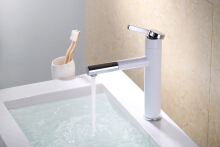 LANGFAN J4811 White Color Bathroom Sink Pull Out Shower Faucet