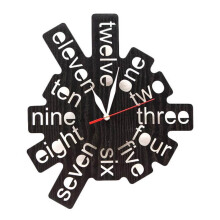 NAIL YOUR ART One Two Three (Black) Wall Clock/32x32Cm