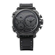 SWISS NAVY Man Chronograph Black Dial Black Leather Strap [6824MABGYBK]
