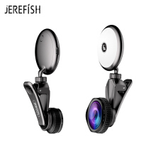 JEREFISH LED Selfie Flash Light RK19 Beauty Artifact 9 levels Fill light adjustment with Fisheye Lens Wide Angle Lens Macro Lens