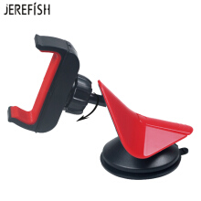 JEREFISH Car Phone Holder Windshield Bracket Cell Phone Sucker Holder Suction Desktop Mount for iPhone Galaxy 360Degree Rotate Red