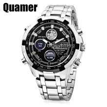 Quamer SD - 165 Dual Movt Men Watch 3ATM Day Date Display Alarm Luminous Pointer Wristwatch