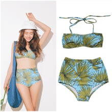 Sweet Halterneck Plant Print Bikini Set For Women