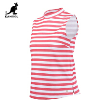 Kangol- Short sleeved T-shirt striped bottom shirt, 2016 summer simple and loose, high collar new sports jacket-Red