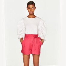 ZARA Pleated Bermuda Shorts - Pink