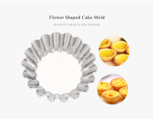 6pcs Stainless Steel Egg Tart Cupcake Mold Baking Tool