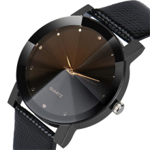 BESSKY Luxury Quartz Sport Military Stainless Steel Dial Leather Band Wrist Watch - Black