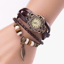 BESSKY Women Girl Vintage Watches, Bracelet Wristwatches leaf Pendant Coffee_ Dark Brown