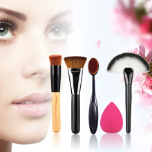 New 5pcs Makeup Brush Powder Blush Foundation Brush Sponge Puff Contour Brush