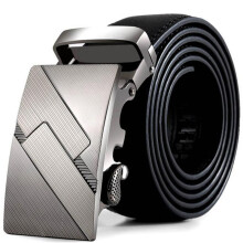 BESSKY Men Leather Automatic Buckle Belts Fashion Waist Strap Belt Waistband- Black