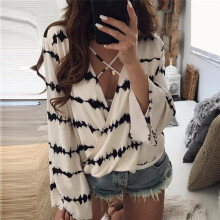 BESSKY Women Loose Long Sleeve Printed Tops Chiffon Casual Blouse_
