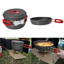 [Kingstore]3-4 Person Cooking Pot Camping Cookware Outdoor Pots Frying Pan Kettle Set