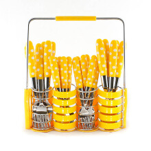 VICENZA Sendok Set 24 Pcs V245C - Motif Polkadot / Yellow