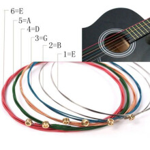 6Pcs One Set Rainbow String Colorful Steel for Acoustic Wood Guitar