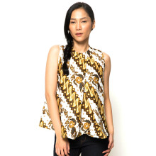 FBW Ballina Front Pleat Batik Top - White/Brown