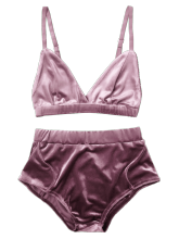 Velvet High Waist Bra Set