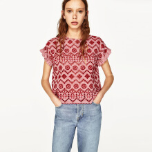 ZARA Embroidered Top - Red