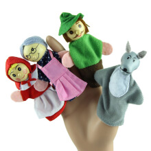 BESSKY 4PCS Little Red Riding Hood Finger Puppets - Red