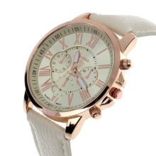 BESSKY Fashion Geneva Roman Numerals Faux Leather Analog Quartz Women Wrist Watch-