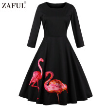 Zaful Hepburn Vintage Series Woman Round Neck Dress Spring And Summer Two Flamingo  Printing Design Long Sleeve Retro Dress