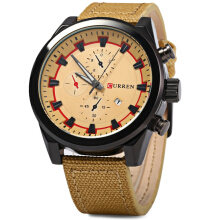 Curren 8196 Male Quartz Watch with Canvas + Leather Band
