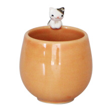 VIVERE Mug Cat Black White Orange 7.5x8cm