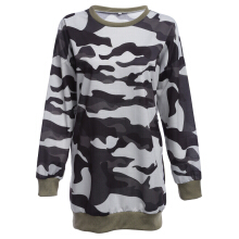 Casual Round Collar Long Sleeve Camouflage Pattern Sweatshirt for Ladies