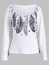 Feather Print Lace Up T-shirt