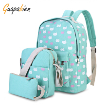 Guapabien 3pcs Kitten Print Backpack Shoulder Bag Wristlet
