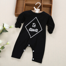 Baby Stylish Style Plaid Letter Print Cotton Blend Round Collar Long Sleeve Single Breasted Romper 70