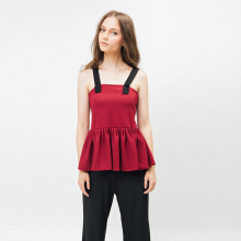 Bel.Corpo Voluxe Top - Maroon Red M