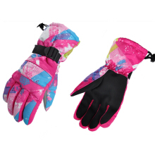 Paired Unisex Outdoor Motorcycle Riding Water Resistant Windproof Warm Snowboard Skiing Gloves  Red and white and blue L