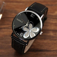 BESSKY Womens Watches Flower Fashion Leather Analog Quartz Vogue Wrist Watch- Black