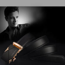 BESSKY Men Leather Automatic Buckle Belts Luxury Waist Strap Belt Waistband_ Black