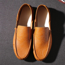 BESSKY Men Soft Breathable Leather Fashion Trim Flat Driving Casual Slip On Shoes_