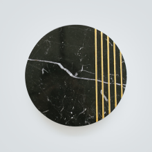 GLERRY HOME DÉCOR Round Golden Black Marble - 20Cm