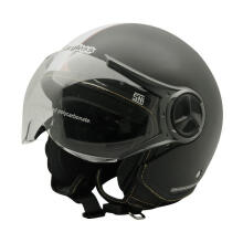 Cargloss YR Ghotic Helm Half Face -   Strip Matt Black Doff