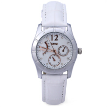 SKMEI 6911 Women Quartz Watch 30M Water Resistance Leather Strap Wristwatch