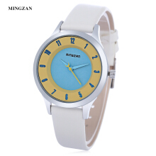 MINGZAN 6202 Women Quartz Watch Stereo Dial Leather Band Daily Water Resistance Female Wristwatch