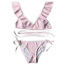 Striped Ruffle Strap Wrap String Bikini Set