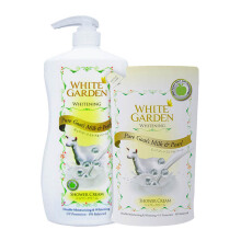 WHITE GARDEN Shower Cream Pure Goat's Milk & Pearl 1100ml (Free Pure Goat's Milk & Pearl Refill 900ml)