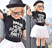 2pcs Girls T-Shirt Floral Lace Skirt  Short Sleeve Letter Printed