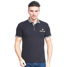 ALINSKIE BROTHERS Mens Polo Shirt Classic Pocket Jetta A1009 - Black
