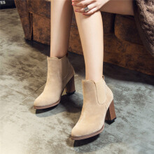 BESSKY Autumn Winter Boots Square High Heel Ankle Booties Abkle Knot Winter Shoes _