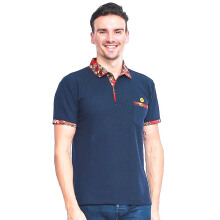 ALINSKIE BROTHERS Mens Polo Shirt Classic Pocket Carnelian A1002 - Navy