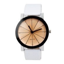 BESSKY Men Quartz Dial Clock Leather Wrist Watch Round Case- White