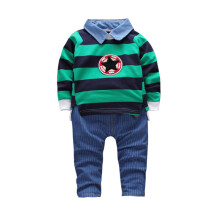 BESSKY Toddler Kid Baby Boys Outfits Stripe Pullovers T-shirt Tops+Pants Clothes Set_