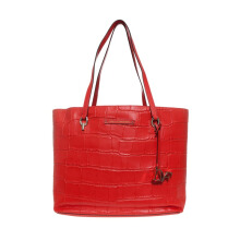 Diane Von Furstenberg Ready To Go Croc Embossed Tote Bag - Hot Orange [H2279063A15]